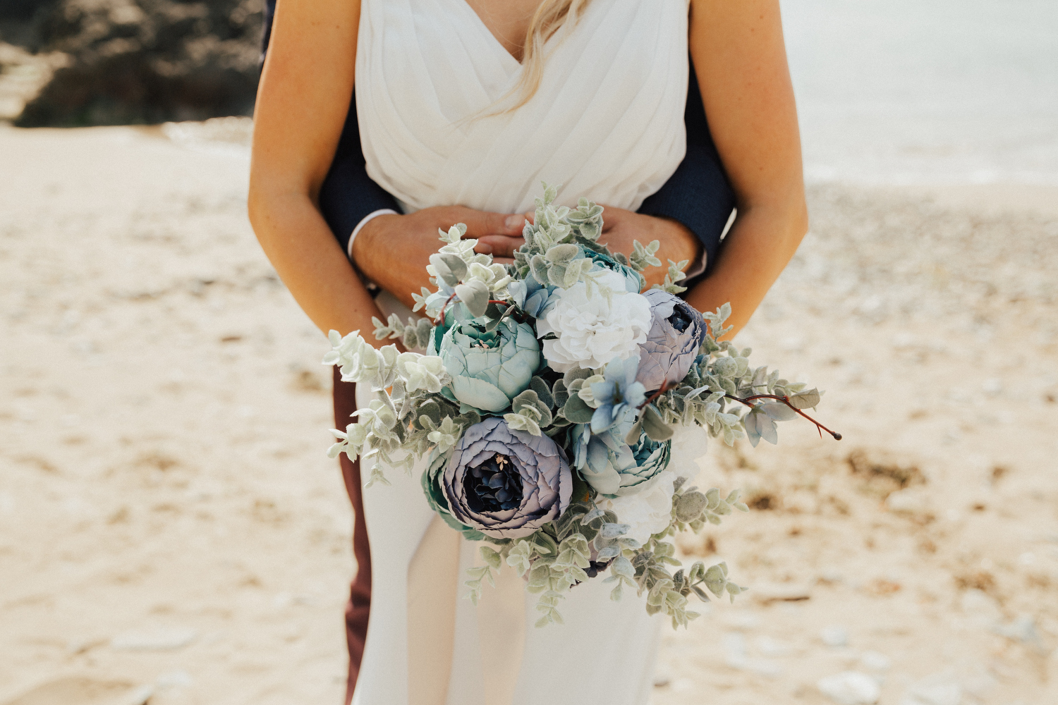 Real wedding on the beach at Polhawn Fort in Cornwall