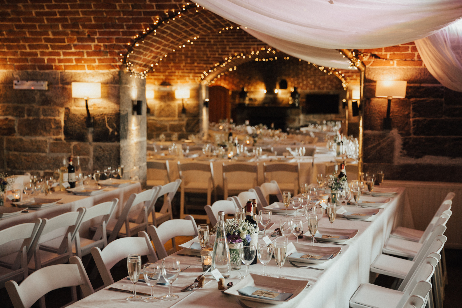 Stunning wedding reception at Polhawn Fort in Cornwall
