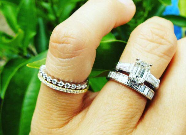 wedding rings worn by a bride