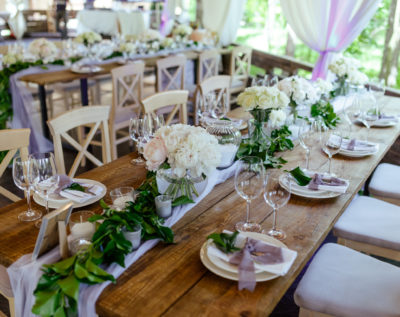 Wedding table setting for a rustic marquee wedding