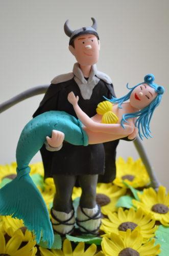devil and mermaid wedding cake topper