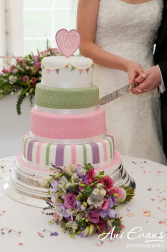 couple cutting their green and pink wedding cake