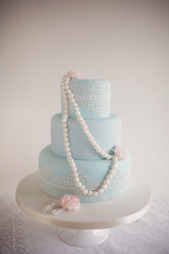 beautiful wedding cake with blue details