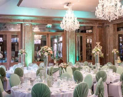 wedding reception room decorated in mint green at Fawsley Hall