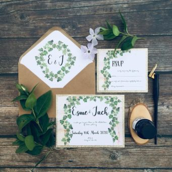 Green foliage wedding stationery with custom design and calligraphy
