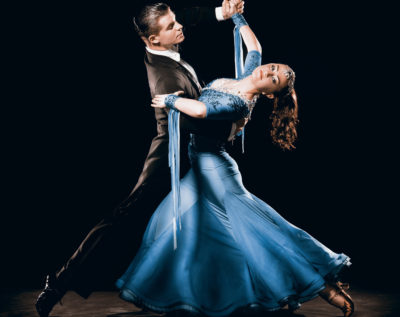 Dramatic Argentinean Dance Couple Competing in Tango Championships