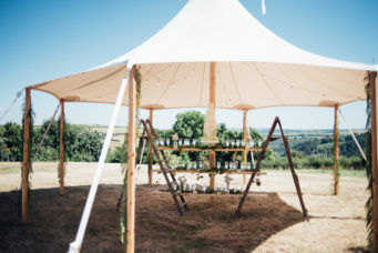 Gazebo tent being used for a drinks reception at the Camel Studio wedding venue