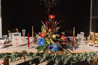 Wedding table decoration inspired by the Greatest Showman, photo by Gina Fernandes Photography
