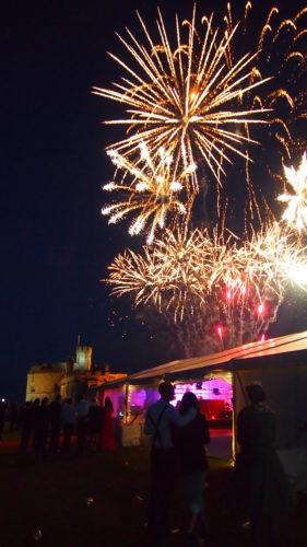 Fireworks over Pendennis Castle at a wedding