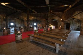 Inside the Castle Keep at Pendennis Castle set up for a wedding ceremony