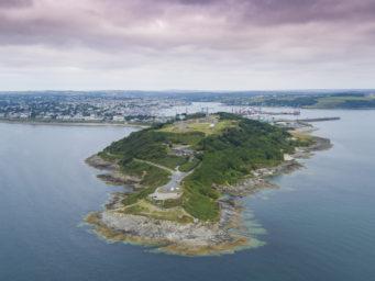 Aerial view of Pendennis Castle wedding venue