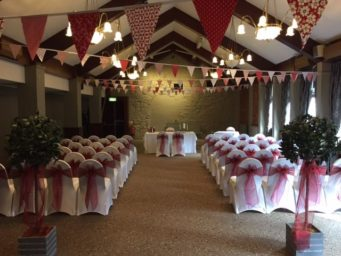 The Marquee Suite laid for a wedding ceremony at the Cock Hotel Stony Stratford wedding venue