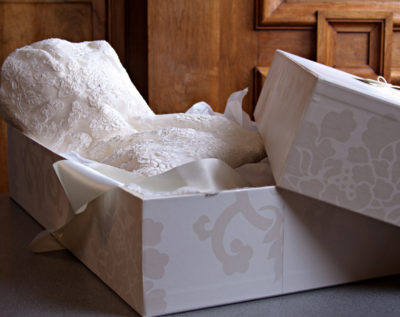preserving a wedding dress in a pretty box