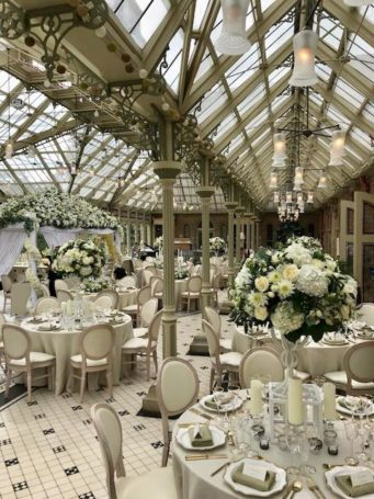 The orangery at Kilworth House Hotel set for a wedding