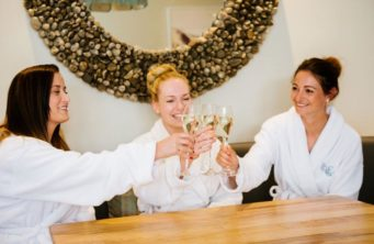 Bride and bridesmaid enjoying a spa at Kettering Park Hotel, wedding venue in Northamptonshire