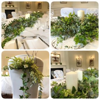Foliage and flowers for the wedding table at Kettering Park Hotel