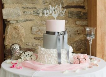 Beautiful pink and grey wedding cake on a cake table