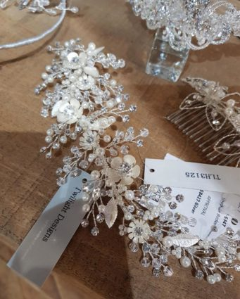 Bridal accessories on a display table