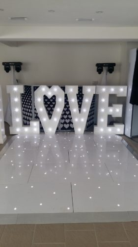 Giant love letters with a heart instead of O