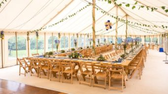 Wedding marquee set up for a wedding breakfast