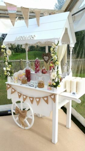 Pretty sweet cart at a wedding in a marquee