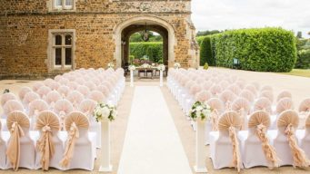 Fawsley Hall set up for an outdoor wedding