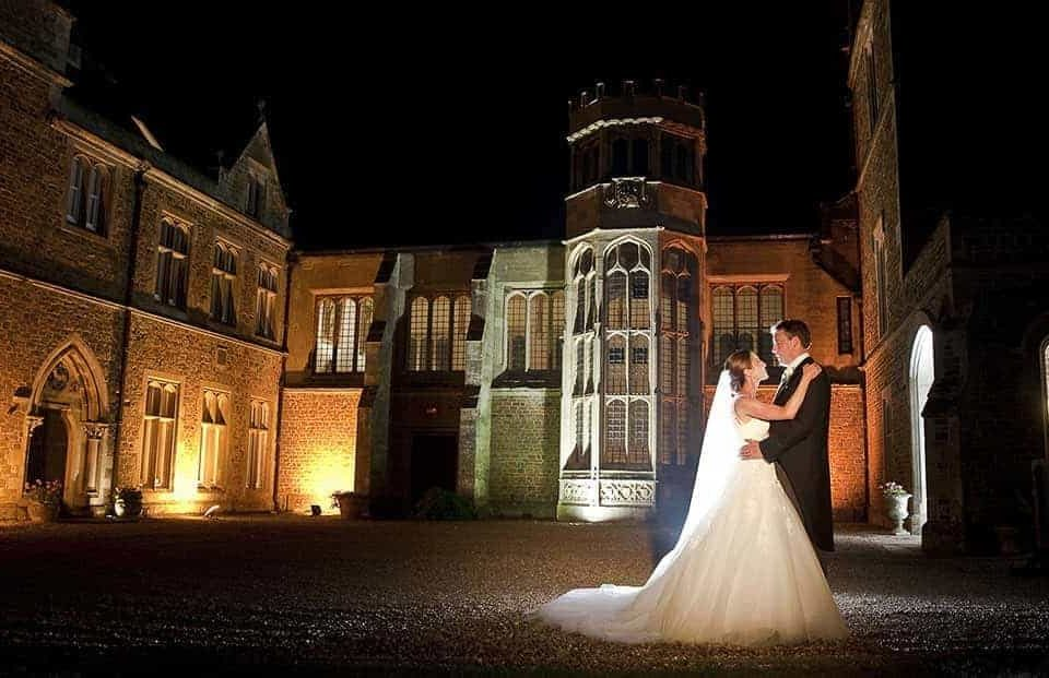 Fawsley Hall wedding venue in the evening