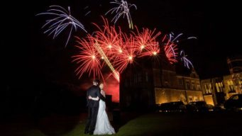 Wedding fireworks at Fawsley Hall