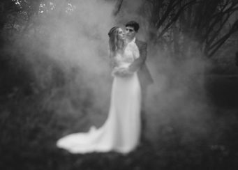 Smokey photo of a bride and groom