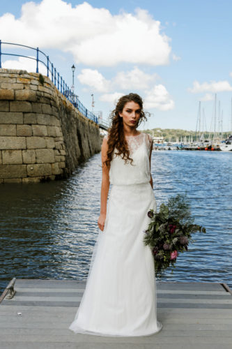 Stunning wedding dress modelled in the harbour in Falmouth, available from Brides To Be Falmouth