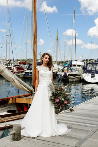 Stunning wedding dress modelled by boats in Falmouth, available from Brides To Be Falmouth