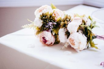 Bridal bouquet on a table at The Falmouth Hotel, perfect Cornwall wedding venue