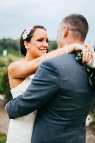 Bride and groom in the gardens of The Falmouth Hotel, perfect Cornwall wedding venue