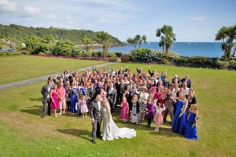 Large wedding party in the gardens at The Falmouth Hotel, perfect Cornwall wedding venue