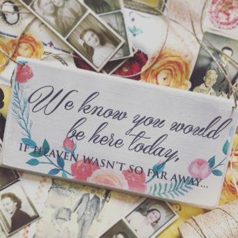 Hand painted sign for a wedding memory table
