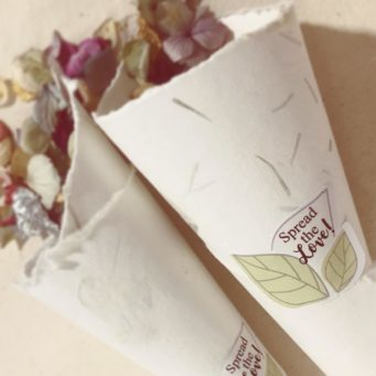 Recycled paper confetti cones with dried flowers