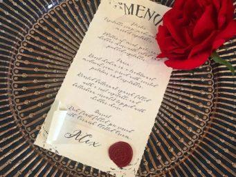 Punk wedding stationery and wedding menus in Cornwall