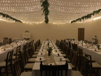 The Studio at Cranford Hall set up for a wedding at Cranford Hall, perfect wedding venue in Kettering, Northamptonshire