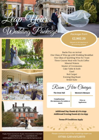 Leap Year package deals at Dunchurch Park Hotel wedding venue
