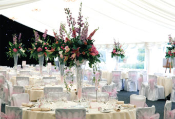 Marquee internal at Dunchurch Park Hotel wedding venue