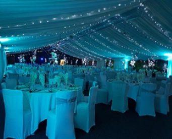 Evening marquee wedding at Dunchurch Park Hotel wedding venue