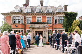 Newly married bride and groom at Dunchurch Park Hotel wedding venue Warwickshire