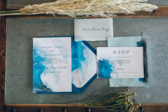 Hand painted wave wedding stationery in Cornwall