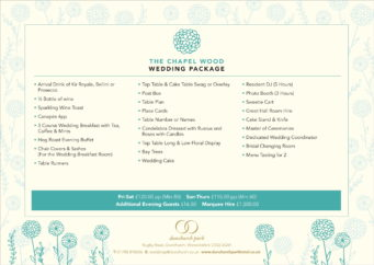 Wedding packages available at Dunchurch Park Hotel wedding venue