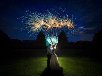 Fireworks at a wedding at Dunchurch Park Hotel wedding venue