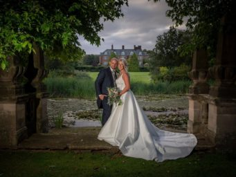 Bride and groom at Dunchurch Park Hotel wedding venue Warwickshire