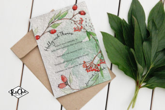 Hand painted country flower wedding stationery in Cornwall