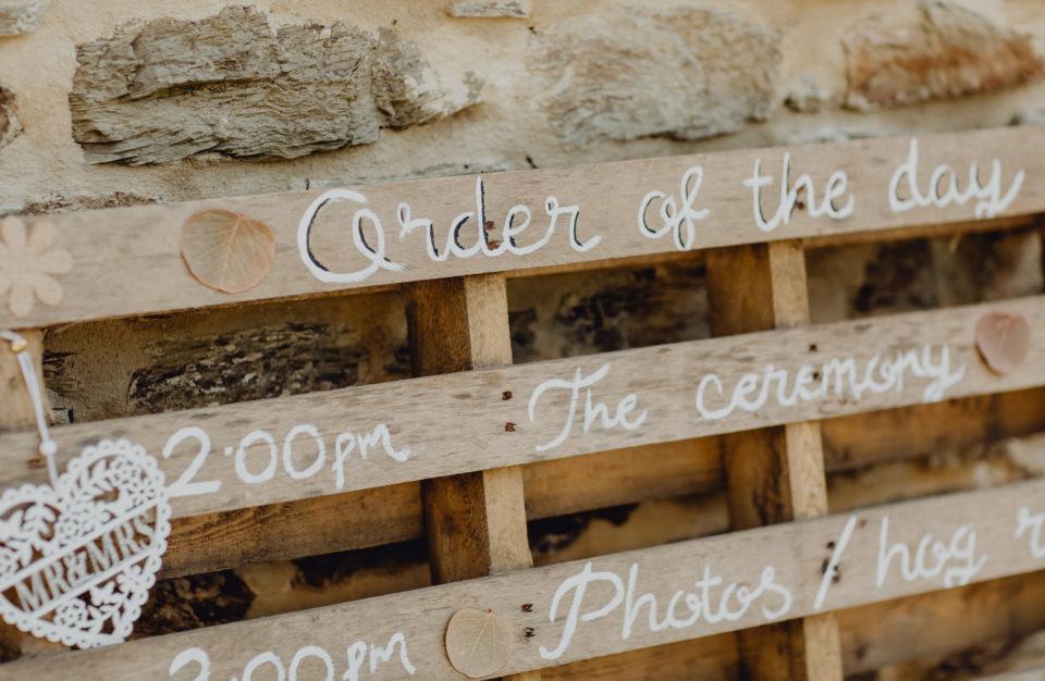 Wedding day schedule written on an old pallet