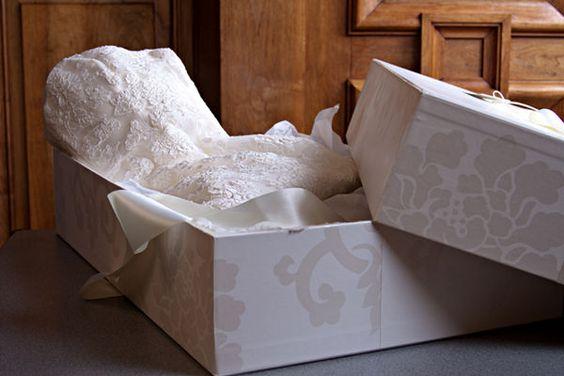 Preserve your wedding dress by using a wedding dress box to protect and store your wedding dress