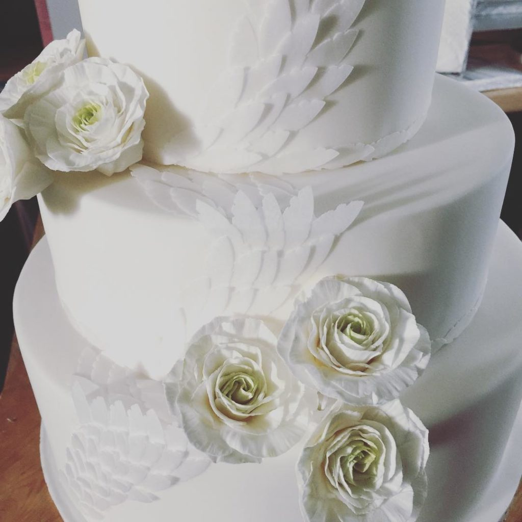 Detail of a wedding cake by luxury wedding cake maker, Claire's Sweet Temptations in Cornwall